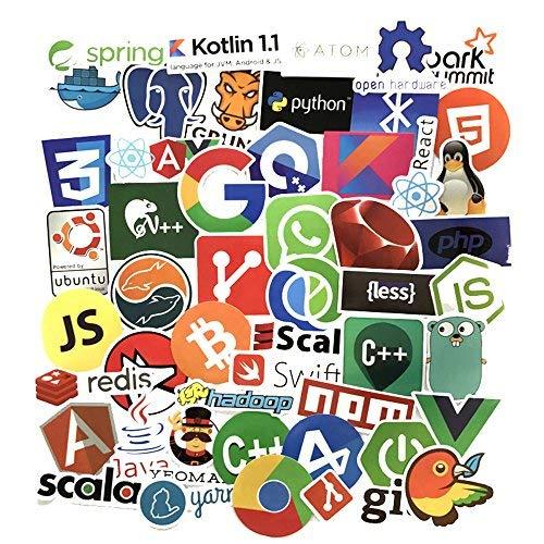 Sanmatic 50Pcs Laptop Aufkleber für Entwickler Programmiersprache gehören Aufkleber IT-Logo, C ++, Python, Linux, Swift, für Geeks, Ingenieure, Hacker, Geeks, Coder Ubuntu Linux-laptop