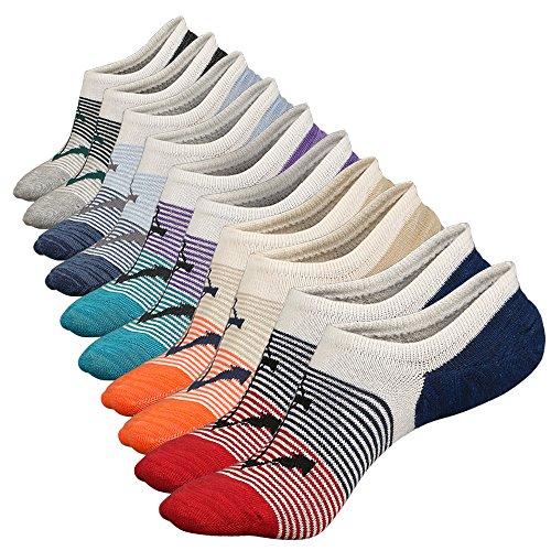 Anliceform Sneaker Socken, Herren tief geschnittene Baumwollsocken unsichtbare Socken Antirutsch-Funktion, aus hochwertiger gekämmter Baumwolle