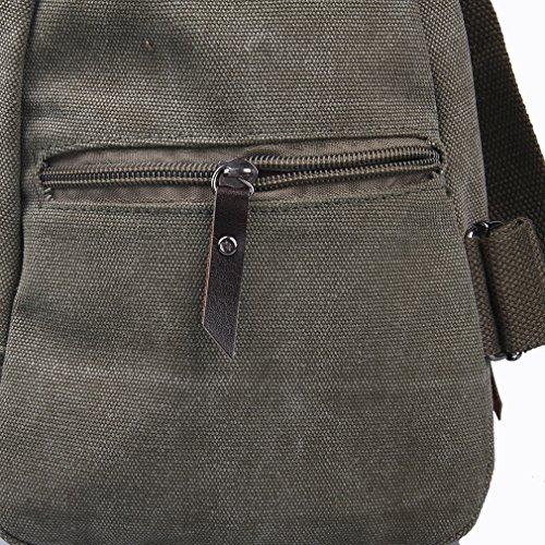 Lukis Herren Leinwand Brusttaschen Messenger Bag Sport Rucksack Wander (Grün) Grün