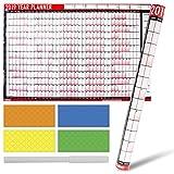 Planificateur/calendrier annuel mural plastifié 2019 format A1 avec marqueur effaçable à sec et pastilles colorées autocollantes pour indiquer les événements importants
