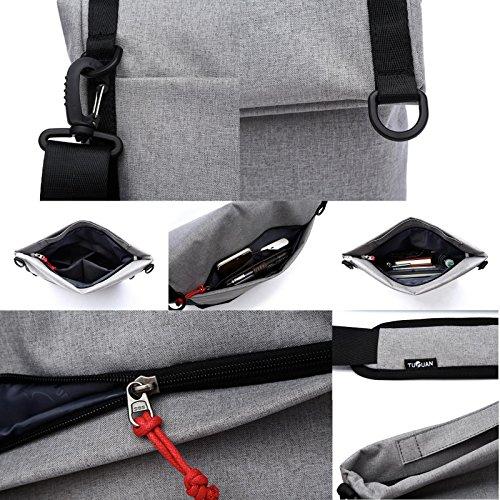 Leinwand geneigt Schultertasche, gohigh Frau Mann Business Schultertragetasche Tasche, Freizeit Student Schultasche, Aktentasche grau, schwarz grau, schwarz