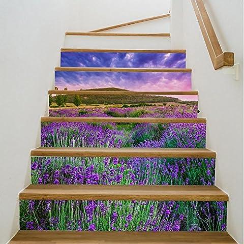 Lavender Staircase Stickers 3D Home Decor Waterproof Autocollant détachable 6 pièces 100 * 18CM