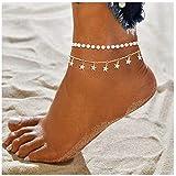 Simsly - Cavigliera con nappe e stelle, con perle, per donne e ragazze (oro)