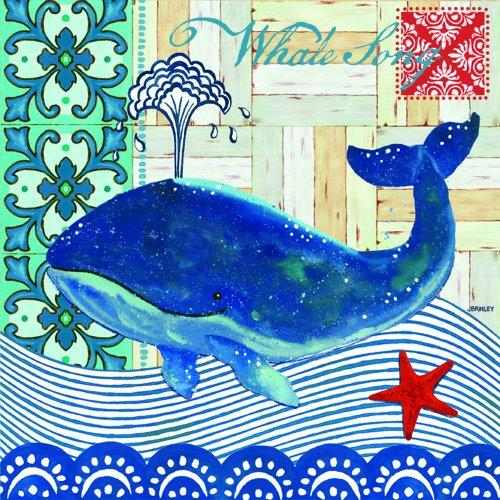 Paperproducts Design Design 1251256Papier Getränk/Cocktail Serviette, 5von 12,7cm, Wal Lied blau - Marine-blau-cocktail