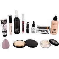 Makeup kit combo pack of 11, Essential Oil, Face Primer, foundation, Concealer, Loose Powder, Blender, Makeup Fixer…