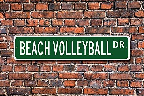 Metall Stree Schild Schild Beach Volleyball Beach Volleyball Player Aluminium Wand Poster Yard Zaun Schild