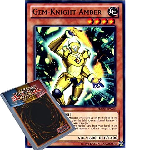 YuGiOh : HA06-EN033 1st Ed Gem-Knight Amber Super Rare Card - ( Hidden Arsenal 6 Omega Xyz Yu-Gi-Oh! Single Card )