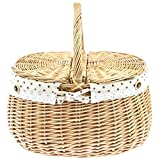 SIDCO Picknickkorb Zweideckelkorb Einkaufskorb Korb Weidenkorb Weide