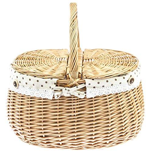Kobolo Praktischer Weidenkorb mit Klapphenkeln und Textilfutter