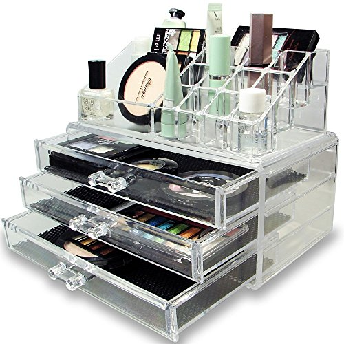 Panzl Acrylic Jewellery & Cosmetic Storage Display Boxes Double Layer Beauty Vanity Jewellery Clear Acrylic Stand and organizer, 3 Drawer & 16 Section