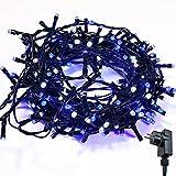 Lichterkette WISD Zwei Farben 13M 200 LED Beleuchtung für Innen und Außen mit EU Stecker von 31V Transformator auf Dunkelgrün Kabel für Weihnachten Garten Zuhause Hochzeit Deko (Blau+Weiß)