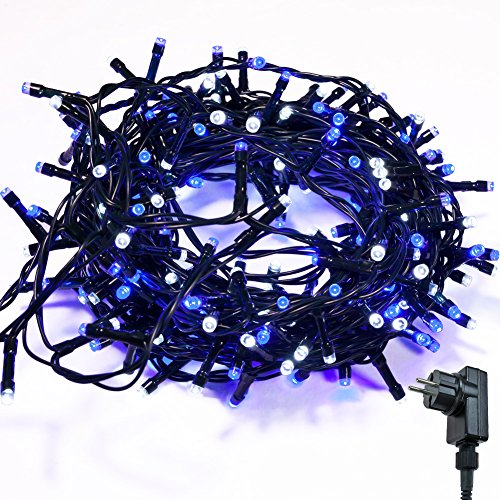 Lichterkette WISD Zwei Farben 33M 600 LED Beleuchtung für Innen und Außen mit EU Stecker von 31V Transformator auf Dunkelgrün Kabel für Weihnachten Garten Zuhause Hochzeit Deko (Blau+Weiß)