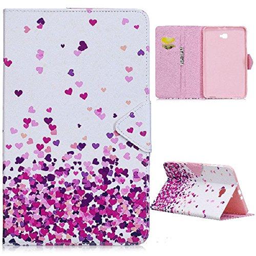 XITODA Samsung Galaxy Tab A6 10.1 Hülle,PU Leder Flip Case Bookcover Hülle für Samsung Galaxy Tab A 10,1 Zoll T580N / T585N Tablet (2016 Version) Schutzhülle Schale Etui mit Kartensteckplätzen und Standfunktion(Rosa Herz)
