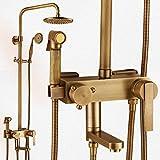 Wasserhähne Warmes und kaltes Wasser große Qualität Retro Dusche Kit voll Kupfer Wasserfall Regendusche Leitungswasser heiße und kalte Druckluft Sprühpistole 4 Duschkabine Leitungswasser