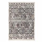 Teppich Flachflor mit Klassisch, Orientalischen Muster in Creme, Grau für Wohnzimmer Größe 200/290 cm