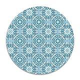 homlife blau Blumen Antirutsch Coral Samt Rund Bereich Teppiche Memory Foam Boden Teppiche Matten 40cm Schlafzimmer Teppich Yoga Stuhl Matte Fußmatte