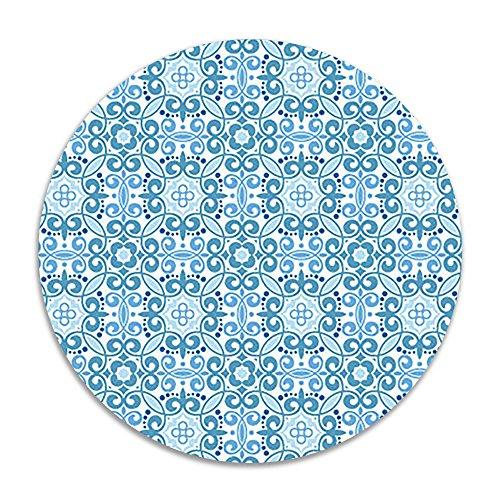 homlife blau Blumen Antirutsch Coral Samt Rund Bereich Teppiche Memory Foam Boden Teppiche Matten 40cm Schlafzimmer Teppich Yoga Stuhl Matte Fußmatte (Blume Runde Teppich)