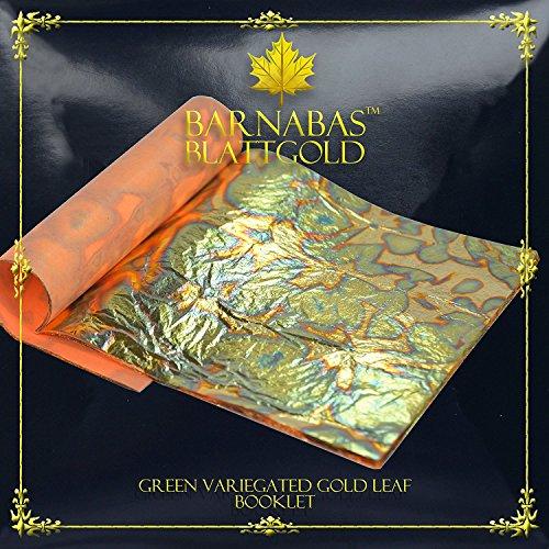 Feuille d'Or Panachée: Vert 14 X14cm, Carnet de 25 Feuilles