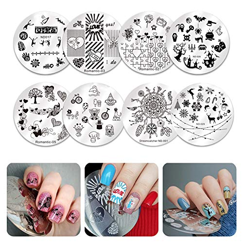 NICOLE DIARY Placas de estampado de uñas Modelo Nail Printed Templates Kit de estampado de arte de uñas Atrapasueños Flor Animal Imagen de patrón Plato redondo Equipo(Round Plates(8 Pcs))