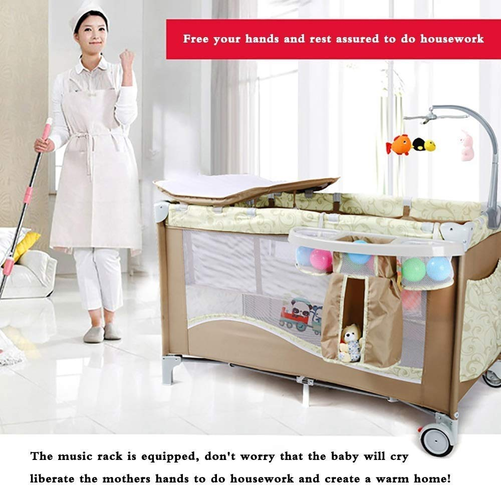 BHDYHM Bedside Sleeper Baby Includes Travel Bag, and Mattress Travel Cot, Correcting The Back Foldable Crib, Safety Padded Cots Unisex BHDYHM * The game bed mode, let the baby play safely, the music rack is equipped, don't worry that the baby will cry, liberate the mothers hands to do housework and create a warm home! * Safe height, don't worry that the baby will fall in the game bed, the baby can play, the mother can eat at ease, and it is their own rest time! *Moms are worried about the safety of the baby, but also take care of the husband's dinner, don't worry, the game bed mode, baby Jiankang happy play, mothers do cooking with heart! 3