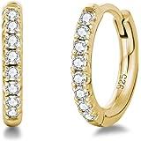Orecchini a Cerchio Piccoli per Donna in Argento Sterling 925 Placcato Oro Bianco/Giallo con Zirconia Cubica - Diametro: 13 m
