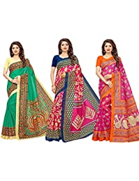 1 Stop Fashion Women's Bhagalpuri Digital Printed Saree Combo With Blouse (Set Of 3)