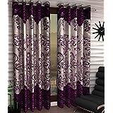 Italian Fab Darbar Panel Polyester Curtains (Set of 4) Long Door - 4 x 9 Feet (Purple)