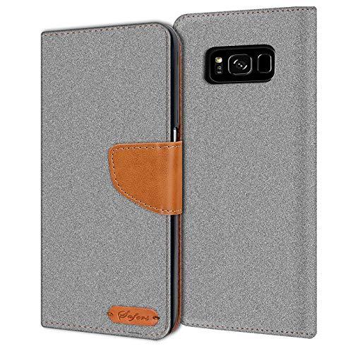 Verco Galaxy S8 Hülle, Schutzhülle für Samsung Galaxy S8 Tasche Denim Textil Book Case Flip Case - Klapphülle Grau