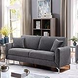 Danube Home Jozel 3 Seater Fabric Sofa - Dark Grey
