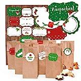 Set: 10 kleine braune Blockbodenbeutel mit Pergamin-Einlage Kekstüten Plätzchen-Tüten (7 x 4 x 20,5 cm) + 17 rot weiß grüne Weihnachts-Etiketten Geschenkaufkleber (4 - 6,5 cm) zum Füllen