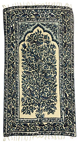 Exotic India Ivory Floral Carpet from Kashmir with Multicolor Thread Embroidered Sparrows and Butterflies - Pure -