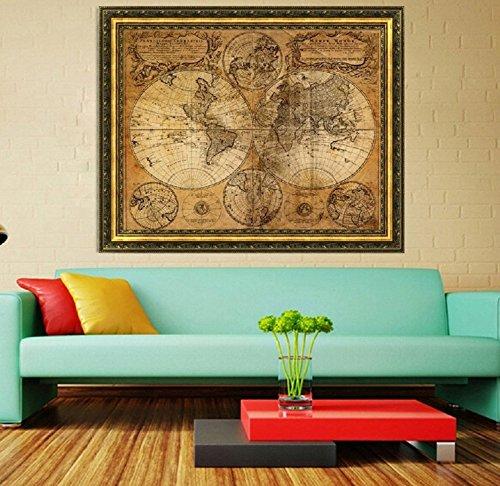 Ruihcury Retro Tela Cartel Globo Mundo Antiguo náutico Mapa Regalos decoración