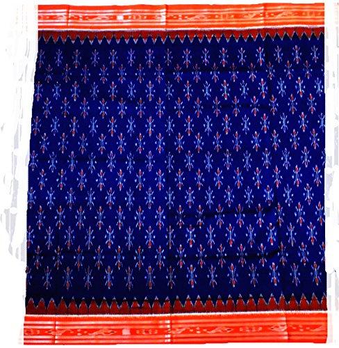 Sambalpuri Handloom Ikat cotton saree(Blue with orange Anchal)