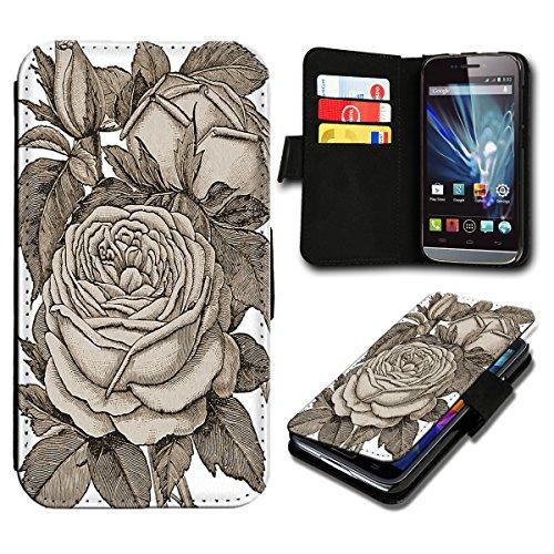 Book Style Wiko Rainbow Lite Premium PU-Leder Tasche Flip Brieftasche Handy Hülle mit Kartenfächer für Wiko Rainbow Lite - Design Flip SV72