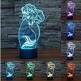LED-Tischleuchte, Motiv: Meerjungfrau, 3D, Nachtlicht, 7 Farben, mit Farbwechsel, für Kinder, zu Weihnachten, Geburtstag, Geschenke, Home Office, Deko-Lampe
