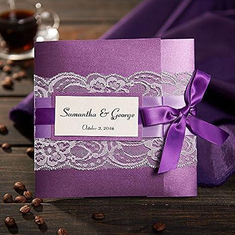 50Lila Hochzeit Einladungen, mit Band gratis Personalisierte & Individuelle Druck Hochzeit Karten, mit RSVP zsk3008, purple card with purple ribbon, (Personalisierte Einladungen)