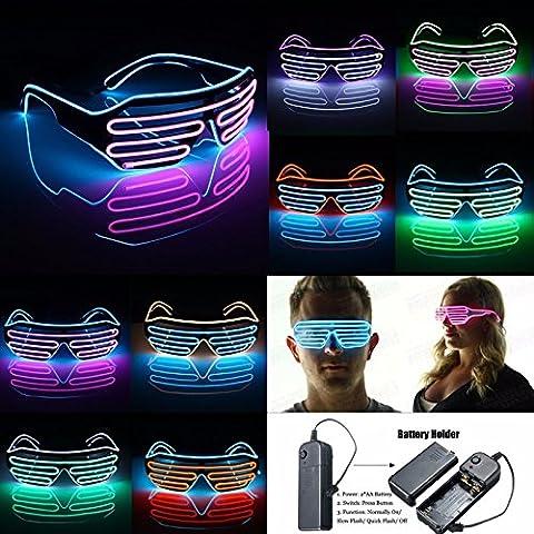 KINGSO Lunettes LED Néon EL Lumineux Coloré Décoration pour Noël/Fête/Soirée/Mariage/Anniversaire Party/Disco Bar, 3 Mode d