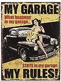Wanddeko Blechschild MY GARAGE MY RULES PIN UP GIRL Retro Wandschild Shabby Chic