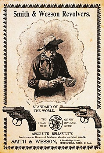 ComCard Smith & Wesson Colt Revolver Hochformat Schild aus Blech, metallsign, Tin