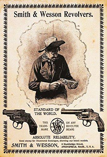 Smith & Wesson Colt Revolver Hochformat Blechschild