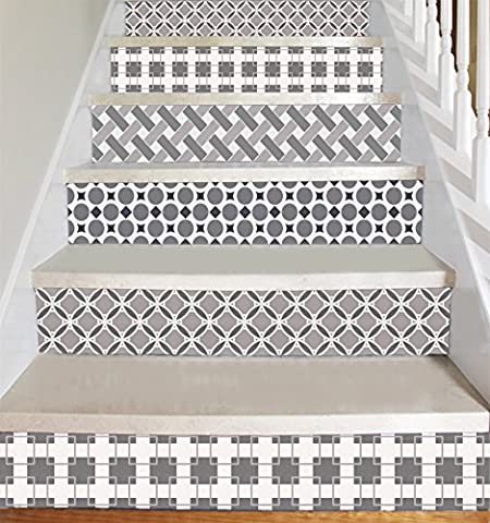 Wallpaper Strips for Stair Risers/ Stair Steps / Wall Baseboard - Peel and Stick - Self Adhesive - Home Decor DIY - Pack of 5 Strips (Step Height 6