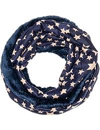 Flauschiger Schal Doppelschal Loopschal Sterne Kariert Karo-Muster Unisex