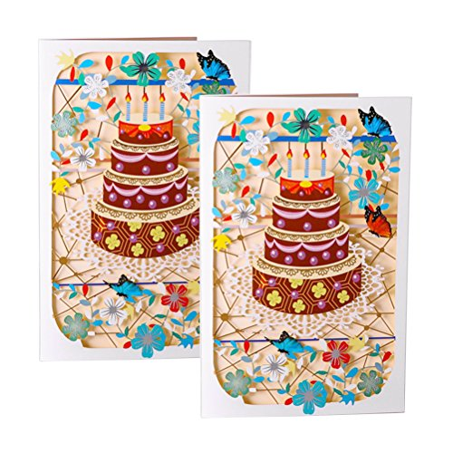 BESTOYARD 2pcs alles Gute zum Geburtstag Grußkarte kreative handgemachte Geschenk Grußkarte (Gut Dekoriert Kuchen)