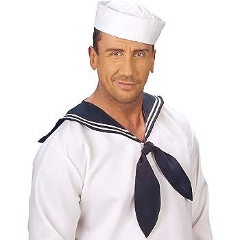 NET TOYS Cappello sotto-ufficiale di marina copricapo mozzo bianco e blu  scuro accessorio costume uomo di mare navigatore 3c71cc91a241