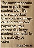 'El más importante préstamo a pagar es tu...' cita by Suze Orman, grabada con láser en placa de madera–tamaño: 8'x10'