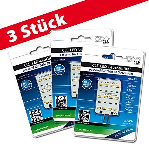 3x LED Ersatzleuchtmittel für Artemide Tizio 50 12V GY6.35 3000K 6 Watt (50 Watt) -