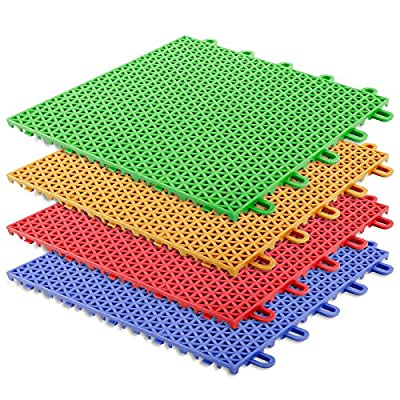 casa pura® Interlocking Plastic Floor Tiles, Safe & Protect | Playground, Activity Flooring | 4 Colours Available