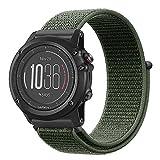 Fintie Armband für Garmin Fenix 3 / Fenix 3 HR/Fenix 5X / Fenix 5 X Plus Smart Watch - Premium Nylon atmungsaktive Uhrenarmband Ersatzband mit verstellbarem Verschluss, Olive