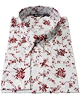 Relco White/Burgundy Floral 100% Cotton Long Sleeved Retro Mod Button Down Shirts