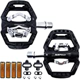 """ZERAY Mountain Bike Pedals Sealed Clipless 9/16"""" Crank Compatible with Shimano SPD Cleats (Cleats Included)-Dual Platform Mul"""